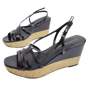 Michael Shannon Brown Patent Leather Wedge Sandal